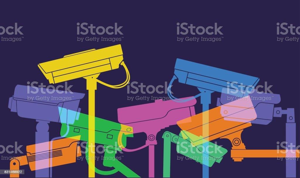 CCTV cameras vector art illustration