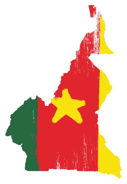 kamerun flagge & karte vektor handbemalt mit abgerundeten pinsel - kamerun stock-grafiken, -clipart, -cartoons und -symbole