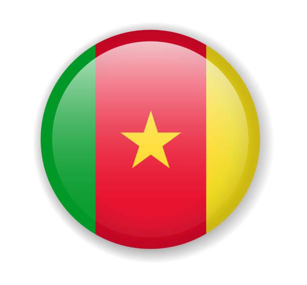 kamerun flagge runden hellen symbol auf weißem hintergrund - kamerun stock-grafiken, -clipart, -cartoons und -symbole