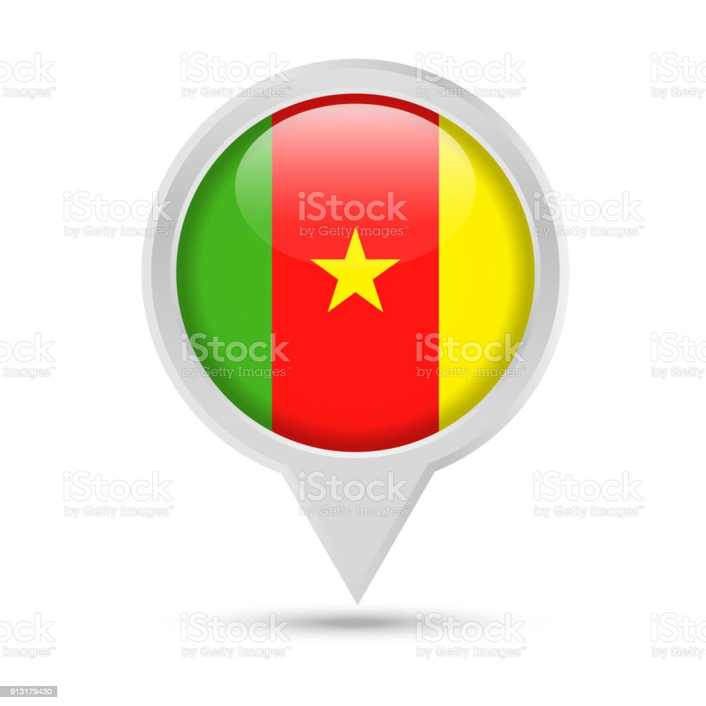 Cameroon flag round pin vector icon royalty free cameroon flag round pin vector icon stock