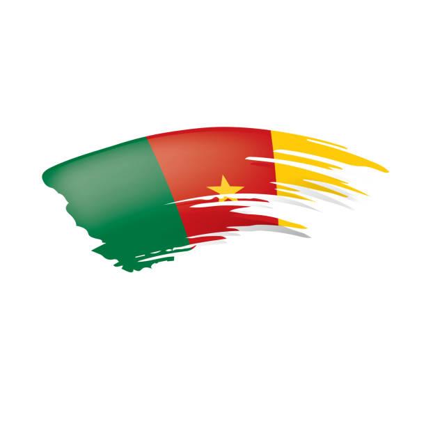 kamerun flagge, vektor-illustration auf einem weißen hintergrund. - kamerun stock-grafiken, -clipart, -cartoons und -symbole