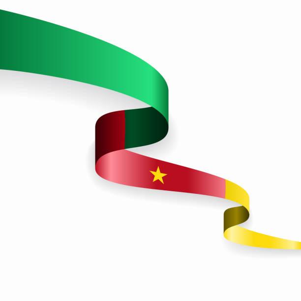 kamerun flagge gewellten abstrakten hintergrund. vektor-illustration. - kamerun stock-grafiken, -clipart, -cartoons und -symbole