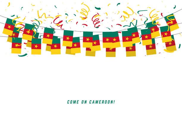 kamerun girlande fahne mit konfetti auf weißem hintergrund, hängen für kamerun feier vorlage banner wimpel. - kamerun stock-grafiken, -clipart, -cartoons und -symbole