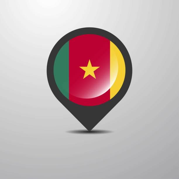 kamerun-karte-pin - kamerun stock-grafiken, -clipart, -cartoons und -symbole