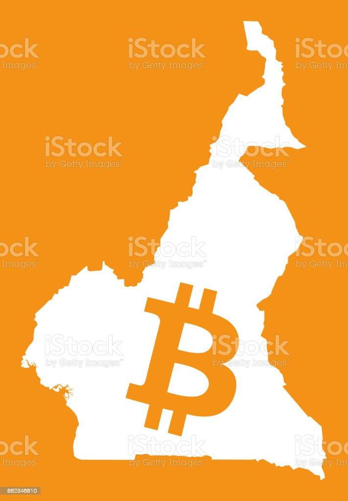 Carte Du Cameroun Avec Illustration De Symbole De Monnaie Crypto