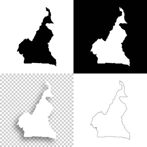 kamerun-karten für design - leere, weiße und schwarze hintergründe - kamerun stock-grafiken, -clipart, -cartoons und -symbole
