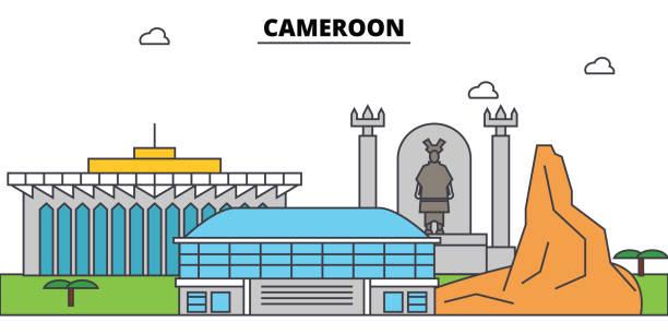 skyline von kamerun umriss, lineare abbildung, banner, reisen wahrzeichen, gebäude silhouette, vektor - kamerun stock-grafiken, -clipart, -cartoons und -symbole