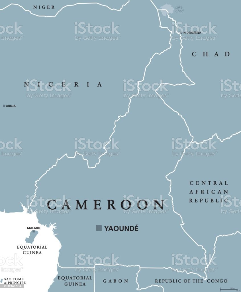 Cameroon political map stock vector art 816941534 istock atlantic ocean map world map abuja africa cameroon gumiabroncs Images