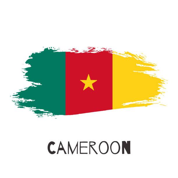 kamerun vektor aquarell national-land-flagge-symbol - kamerun stock-grafiken, -clipart, -cartoons und -symbole