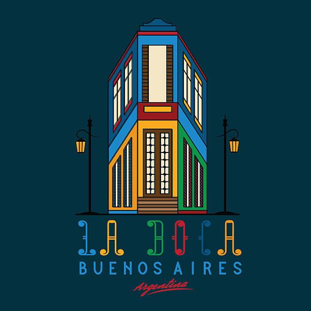 Caminito street in La Boca neighborhood of Buenos Aires, Argentina vector art illustration