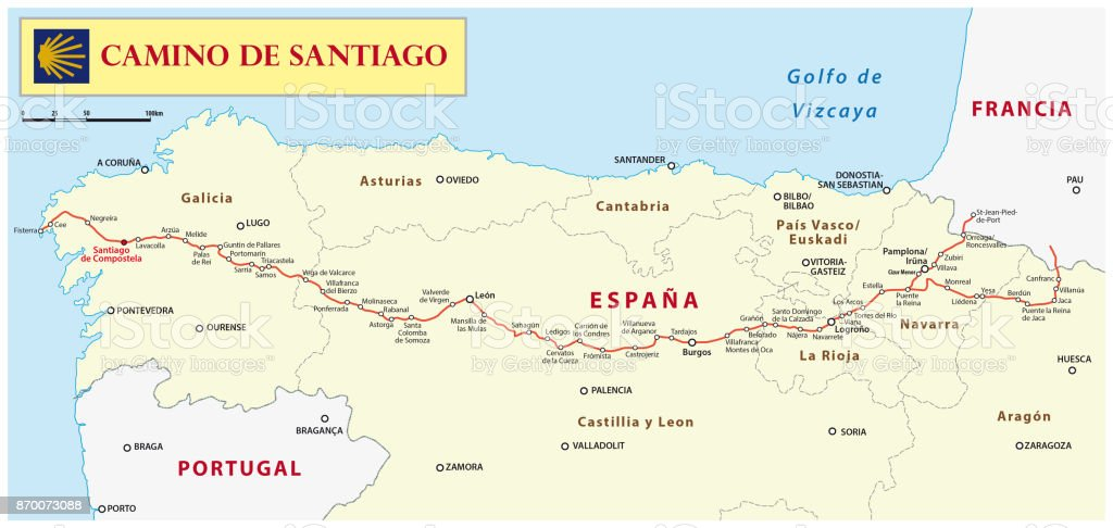 Camino De Santiago Map Stock Vector Art More Images of Animal