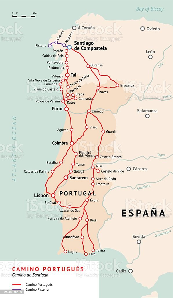 Camino Walk Spain Map.Camino Portugues Map Camino De Santiago Portugal Stock Vector Art
