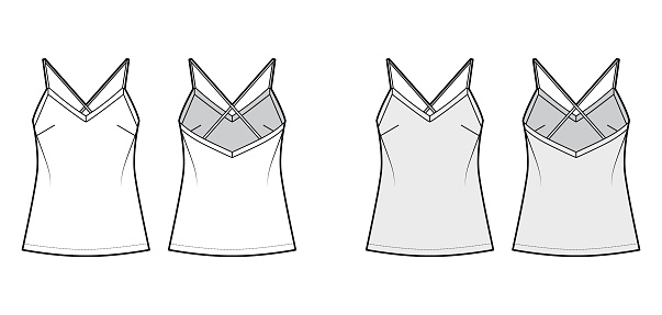Camisole technical fashion illustration with flattering V-neck, crisscross spaghetti straps, relaxed fit. Flat tank