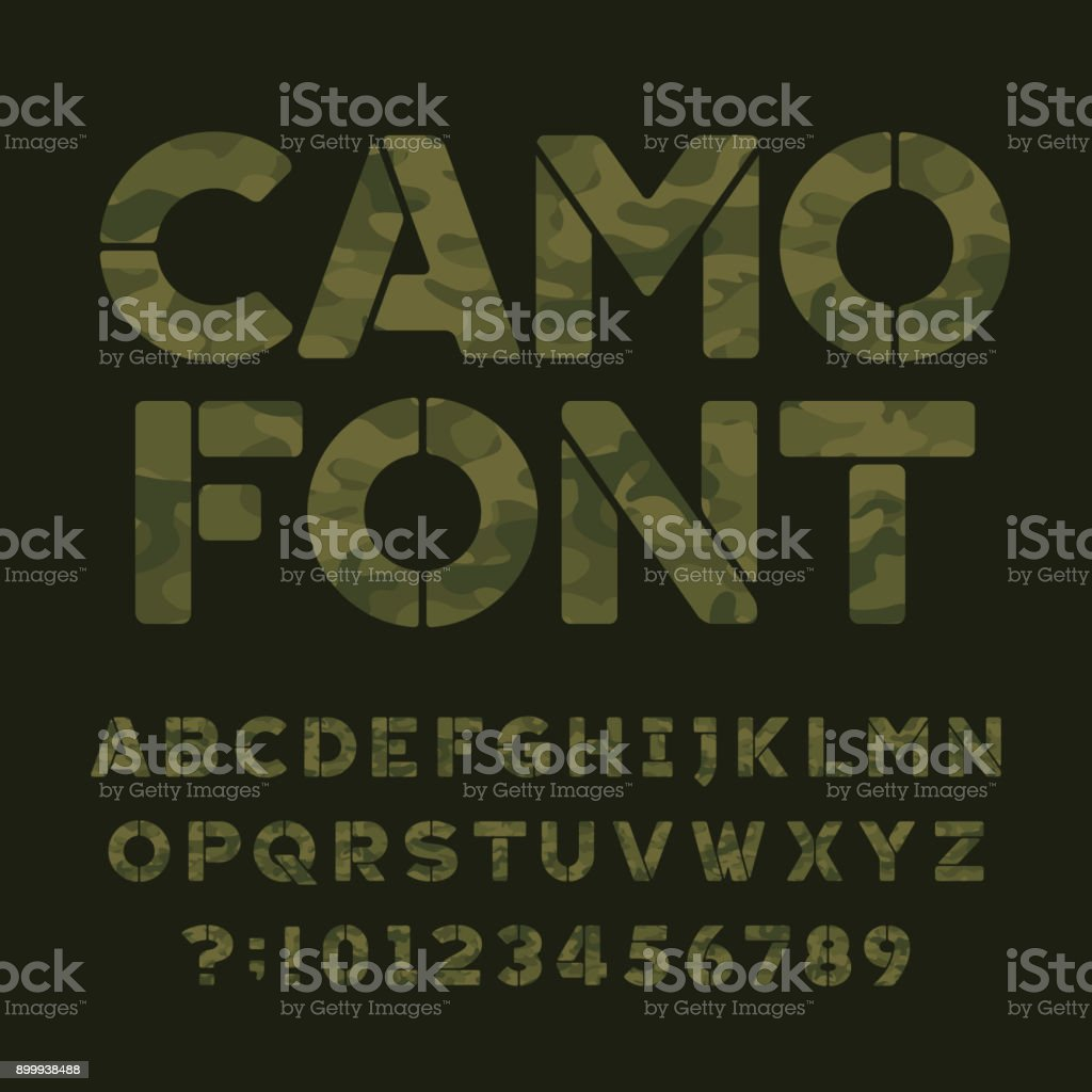 Camo alphabet font. Type letters and numbers. vector art illustration