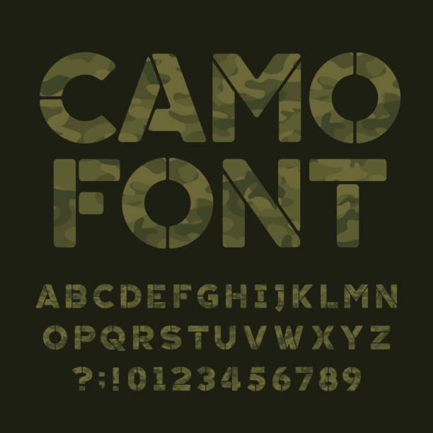 迷彩字母字體。鍵入字母和數位。 - 偽裝 幅插畫檔、美工圖案、卡通及圖標