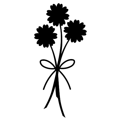 Camomiles. Silhouette. Bouquet of flowers. Colored vector illustration. Isolated background. Asters, gerberas, chamomile. Flowering plant. Bow decoration. Plant pictogram.