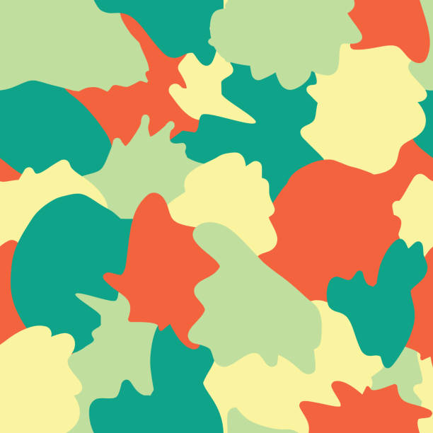 Camouflage abstract shapes seamless vector background. Turquoise, teal, green, yellow, and orange shapes layered. Doodle background. Graphic illustration for wrapping, web backgrounds, paper, fabric vector art illustration