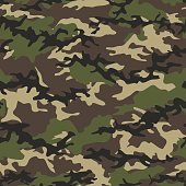 Camouflage seamless woodland pattern background. Military camouflage pattern. Fashionable camouflage textile. Military print. Seamless vector wallpaper. Clothing style masking. Repeat print.