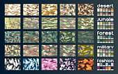 Camouflage fabric set in vector format