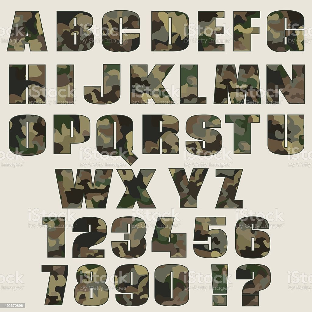 Camouflage Font And Numbers Font For Advertising Graphic