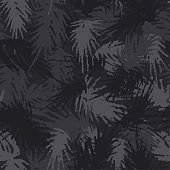 Camouflage needles plants, seamless pattern. Grunge branches and herbs green hand drawn camo background. Distressed texture wallpaper.