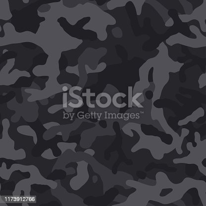 Black camouflage seamless pattern. Vector camo military backgound. Fabric textile print tamplate.