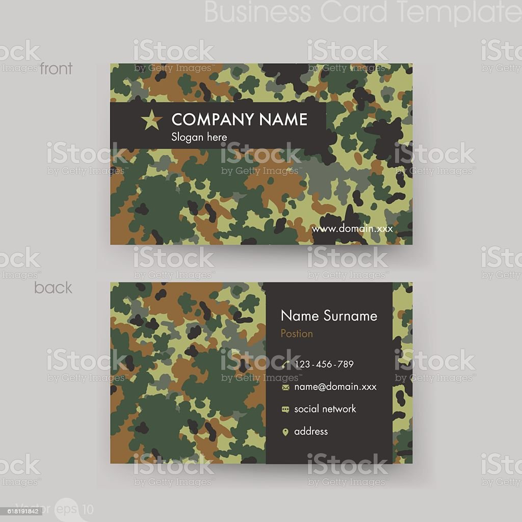 Camouflage Pattern Business Card Template Stock Vector Art & More ...