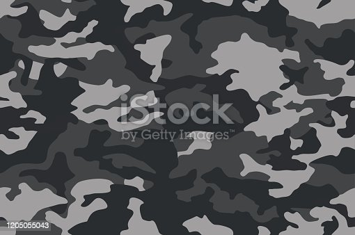 Camouflage pattern background. Classic clothing style masking camo repeat print. Black grey white colors winter ice texture. Vector