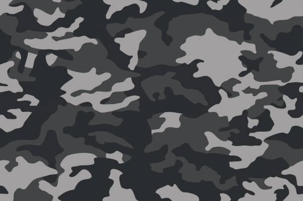 偽裝模式。深黑色無縫紋理。向量凸輪列印背景。抽象軍事風格背景 - 偽裝 幅插畫檔、美工圖案、卡通及圖標
