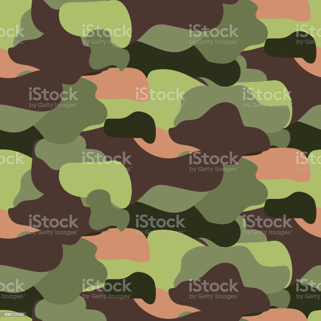 Camouflage pattern seamless vector illustration. Khaki colors texture vector art illustration