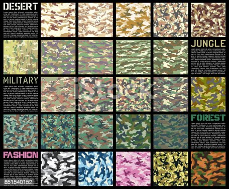 camouflage pattern set texture in vector format