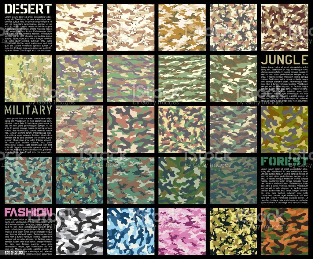 Camouflage pattern set vector vector art illustration