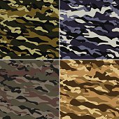 4 type seamless military camouflage patterns. Forest, Navy, Woodland and Desert colours.
