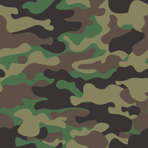 Camouflage seamless pattern background. Classic clothing style masking camo repeat print. Green brown black olive colors forest texture. Design element. Vector illustration. Camouflage seamless pattern background. Classic clothing style masking camo repeat print. Green brown black olive colors forest texture. Design element. Vector illustration. military uniform stock illustrations