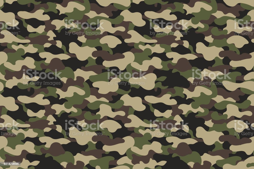 Camouflage Seamless Pattern Military Clothing Texture Background With Green And Brown Foliage Army Style