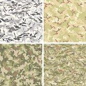 Camouflage seamless pattern set. Vector illustration