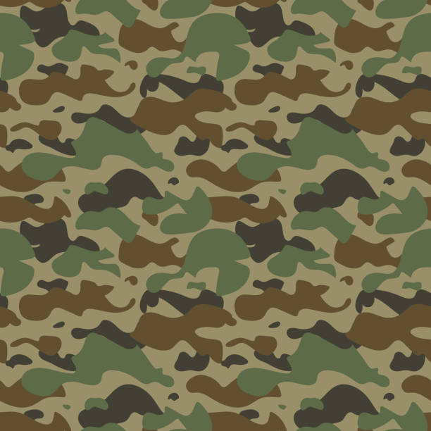 stockillustraties, clipart, cartoons en iconen met naadloze camouflage patroon. - roofdieren