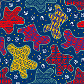 Camouflage seamless pattern with tribal ethnic drawing background. Vector illustration trendy batik motif style.