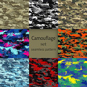 Set of camouflage seamless patterns multi-colored-vector illustration. Marine, military, jungle