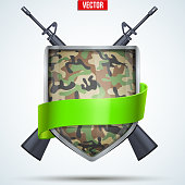 Camouflage Shield with ribbon and rifles