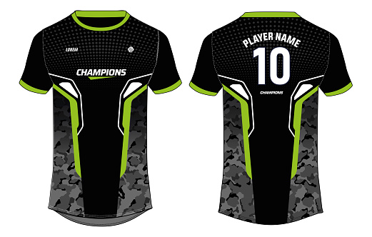 Camouflage Sports jersey t shirt design concept vector template, Football jersey concept with front and back view for Soccer, Cricket, Volleyball, Rugby, tennis, badminton and active wear uniform.