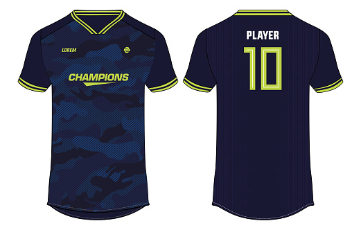 camouflage Sports t-shirt jersey design concept vector template, sports jersey concept with front and back view for Soccer, Cricket, Football, Volleyball, Rugby, tennis, badminton and e-sports uniform