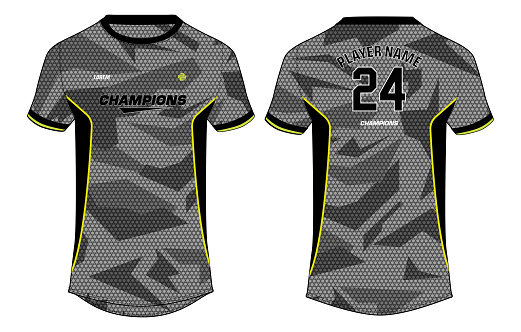 Camouflage Sports t-shirt jersey design concept vector template, sports jersey concept with front and back view for Soccer, Cricket, Football, Volleyball, Rugby, tennis, badminton and e sports uniform