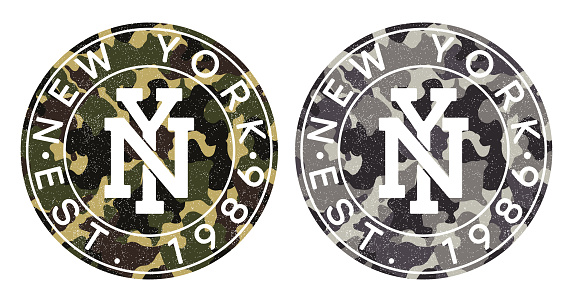 Camouflage texture and New York text for t-shirt design. Typography graphics for tee shirt in military and army style. Print for apparel with camo and grunge. Vector