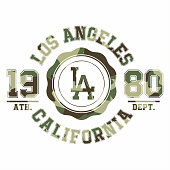 Camouflage typography for t-shirt print. Los Angeles, varsity, athletic t-shirt graphics