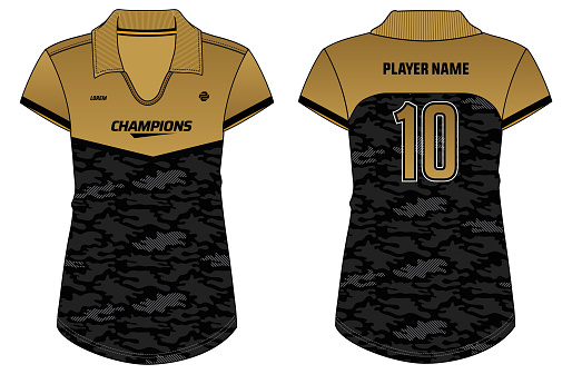 Camouflage Women Sports polo collar t-shirt Jersey design concept Illustration Vector suitable for girls and Ladies Volleyball jersey, badminton, Soccer, netball, Football, basketball and tennis