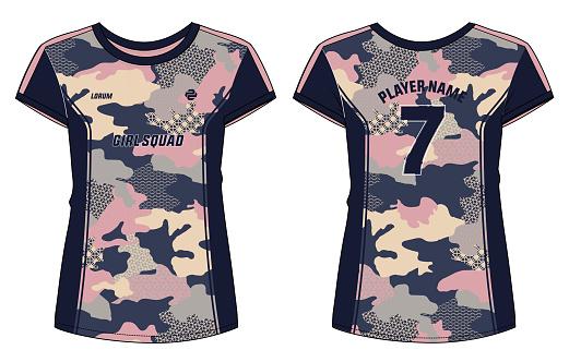 Camouflage Women Sports t-shirt Jersey design concept Illustration Vector suitable for girls and Ladies for badminton, Soccer, netball, Football, tennis, Volleyball jersey.