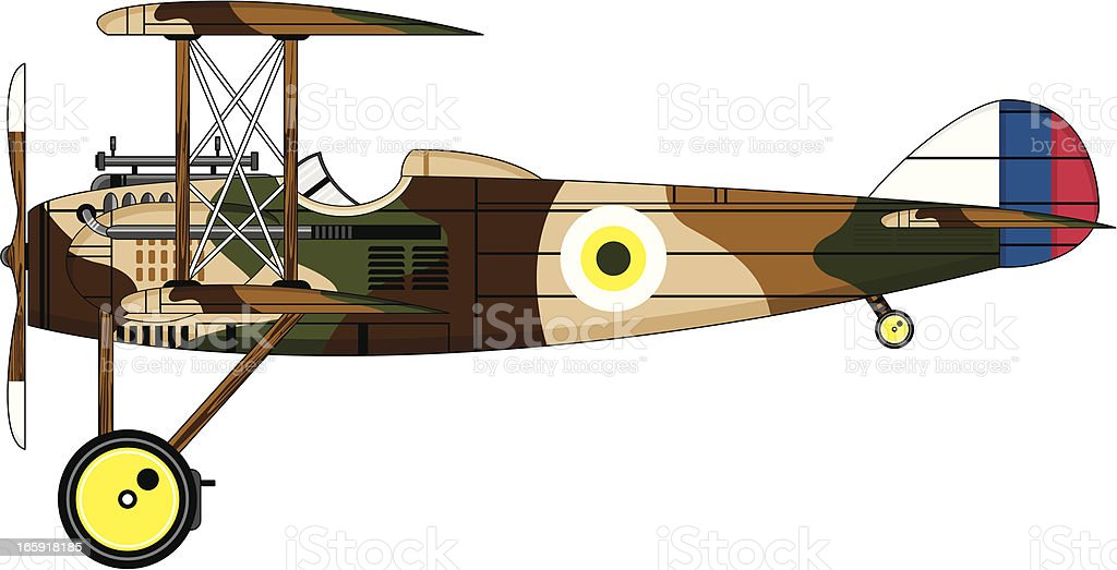 Camouflaged Military Biplane vector art illustration