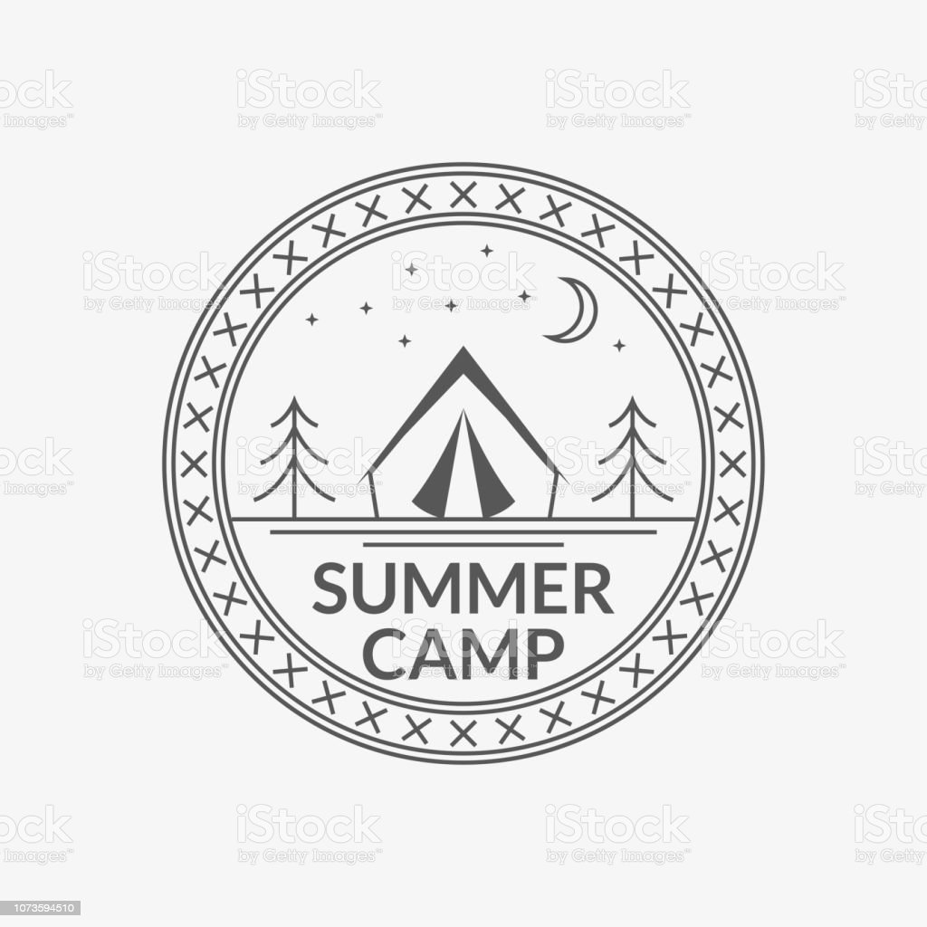 Camp badge. Round summer camping emblem with tourist tent. Vector...