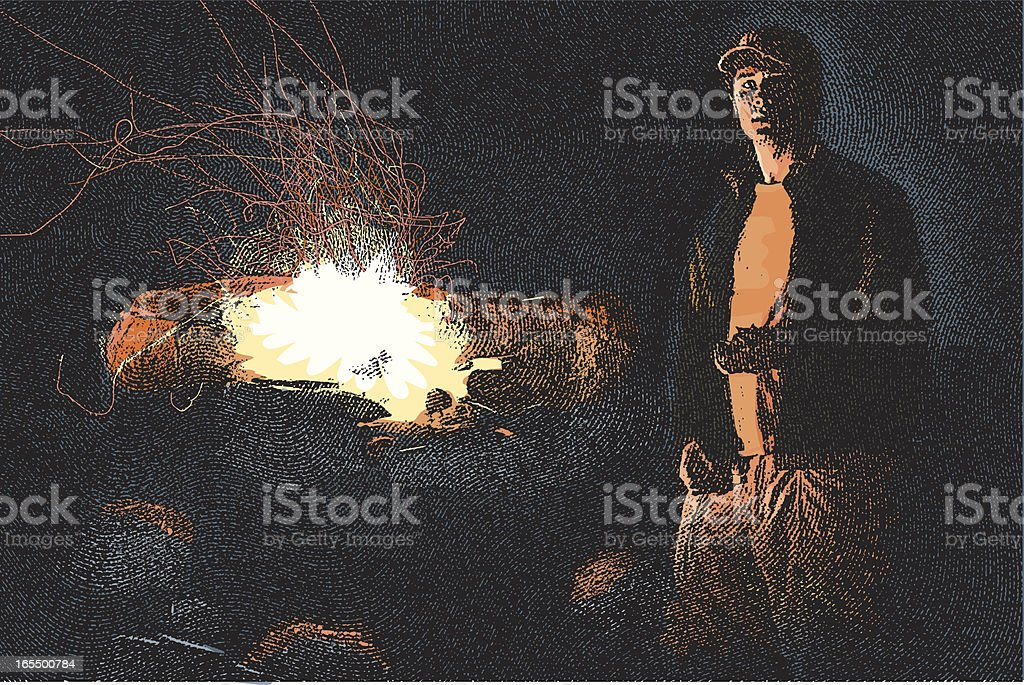 Camp Fire at Night royalty-free stock vector art